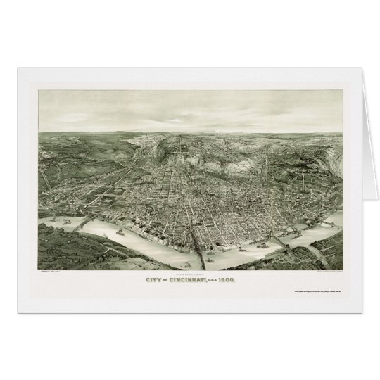 Cincinnati, OH Panoramic Map - 1900 Card