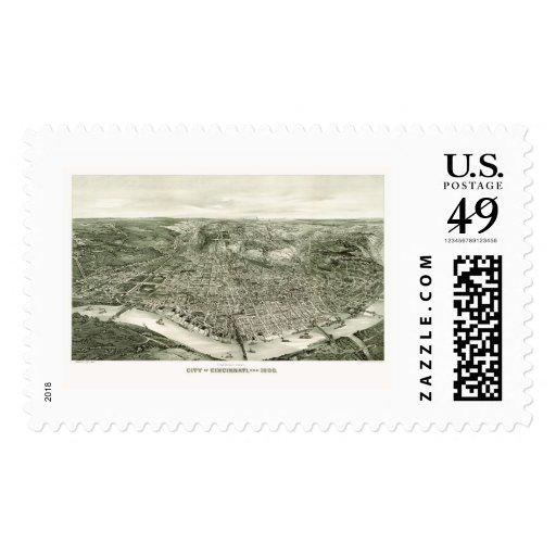 Cincinnati, OH Panoramic Map - 1900 Postage Stamp