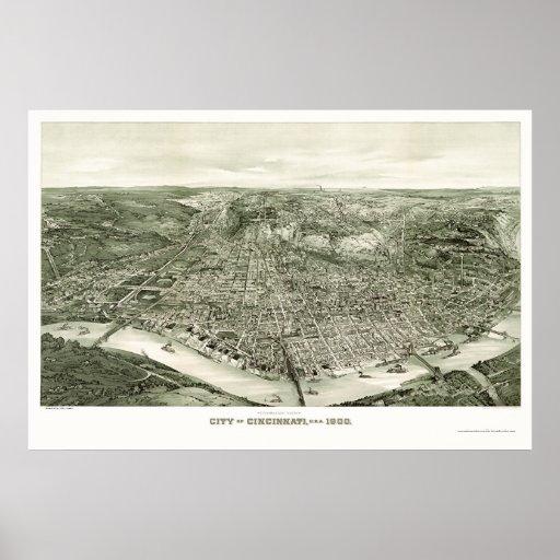 Cincinnati, OH Panoramic Map - 1900 Posters