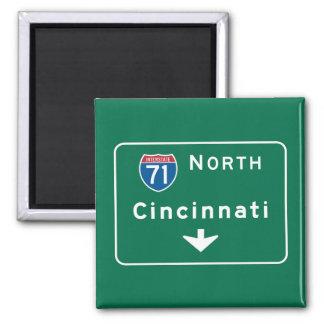 Cincinnati, OH Road Sign 2 Inch Square Magnet