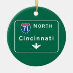 Cincinnati, OH Road Sign Christmas Ornaments