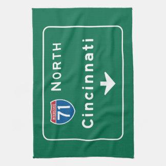 Cincinnati, OH Road Sign Kitchen Towel
