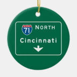 Cincinnati, OH Road Sign Double-Sided Ceramic Round Christmas Ornament