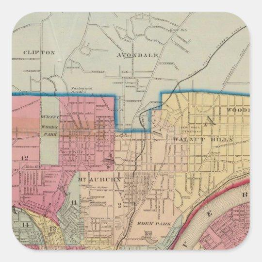 Cincinnati, Ohio and vicinity Square Sticker