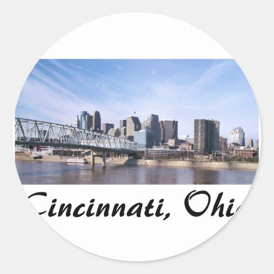 Cincinnati Ohio Classic Round Sticker