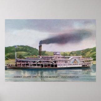 Cincinnati Ohio Coney Island Steamer Island Queen Poster