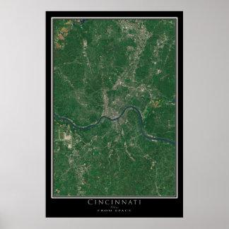 Cincinnati Ohio From Space Satellite Art Poster