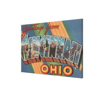 Cincinnati, Ohio - Large Letter Scenes Stretched Canvas Prints