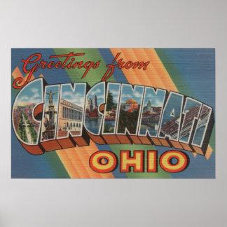 Cincinnati, Ohio - Large Letter Scenes Print