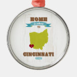 Cincinnati, Ohio Map – Home Is Where The Heart Is Round Metal Christmas Ornament