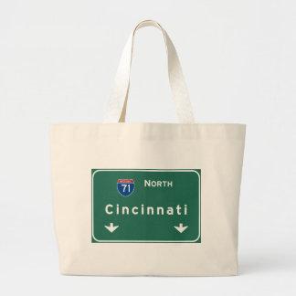 Cincinnati Ohio oh Interstate Highway Freeway : Large Tote Bag