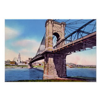 Cincinnati Ohio Roebling Suspension Bridge Poster