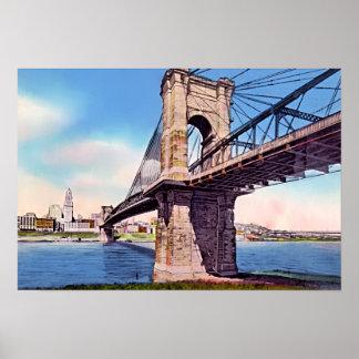 Cincinnati Ohio Roebling Suspension Bridge Posters