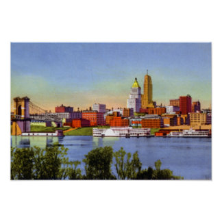 Cincinnati Ohio Skyline and Ohio River Poster