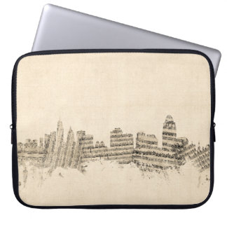 Cincinnati Ohio Skyline Sheet Music Cityscape Laptop Sleeves