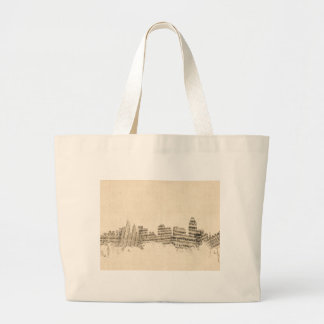 Cincinnati Ohio Skyline Sheet Music Cityscape Large Tote Bag
