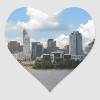 Cincinnati, Ohio skyline with the Ohio River Heart Sticker