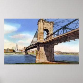 Cincinnati Ohio Suspension Bridge 1930 Poster