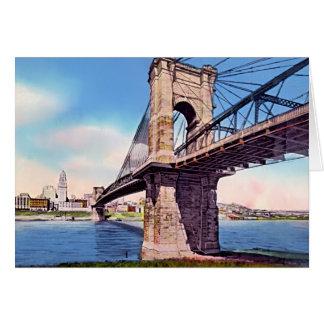 Cincinnati Ohio Suspension bridge Greeting Card