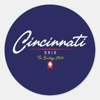 Cincinnati Script Classic Round Sticker