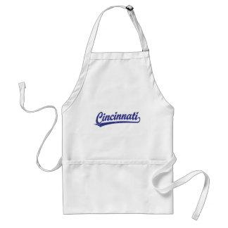 Cincinnati script logo in blue adult apron