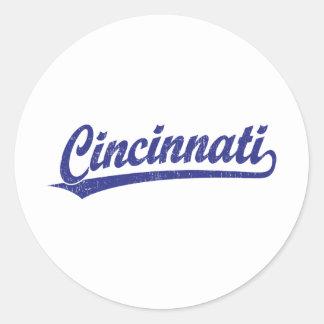 Cincinnati script logo in blue classic round sticker