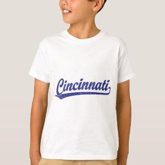Cincinnati script logo in blue T-Shirt