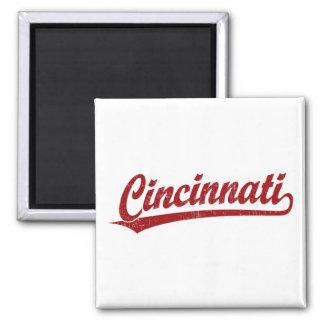 Cincinnati script logo in red 2 inch square magnet