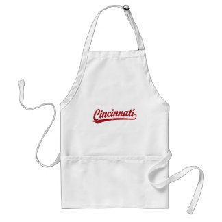 Cincinnati script logo in red adult apron
