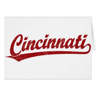 Cincinnati script logo in red card