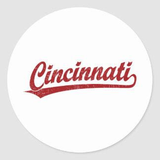 Cincinnati script logo in red classic round sticker
