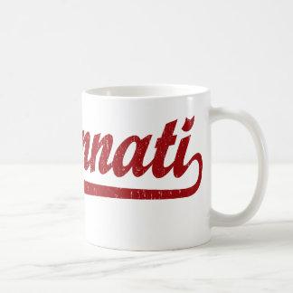 Cincinnati script logo in red coffee mug