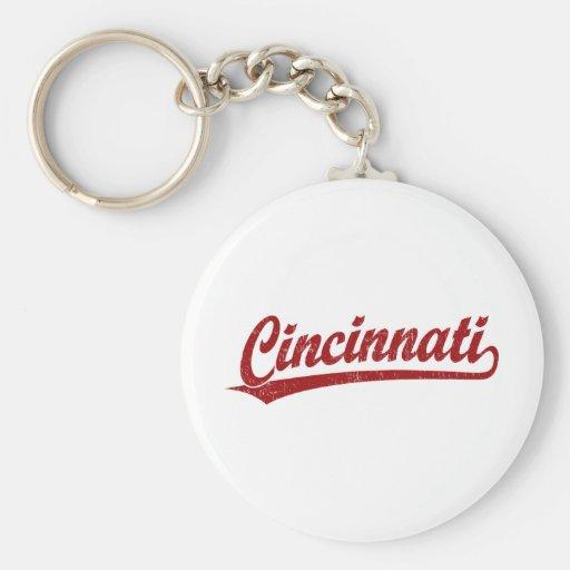 Cincinnati script logo in red keychain