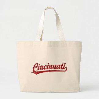 Cincinnati script logo in red large tote bag