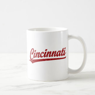 Cincinnati script logo in red classic white coffee mug
