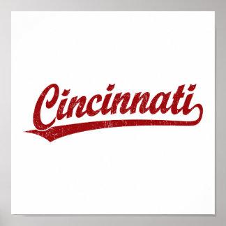 Cincinnati script logo in red poster