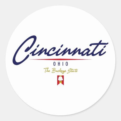 Cincinnati Script Round Stickers