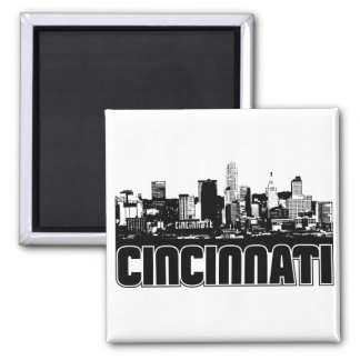 Cincinnati Skyline 2 Inch Square Magnet