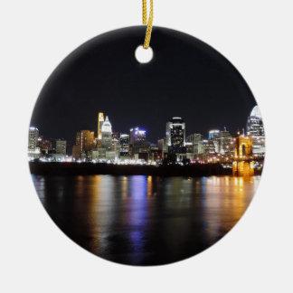 Cincinnati skyline at night ceramic ornament