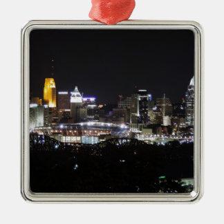 Cincinnati skyline at night ornament