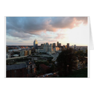 Cincinnati skyline at sunset card