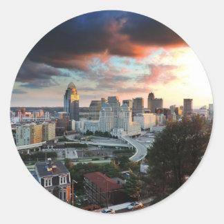Cincinnati skyline at sunset classic round sticker