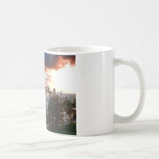 Cincinnati skyline at sunset coffee mug