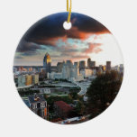 Cincinnati skyline at sunset Double-Sided ceramic round christmas ornament