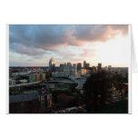 Cincinnati skyline at sunset greeting card