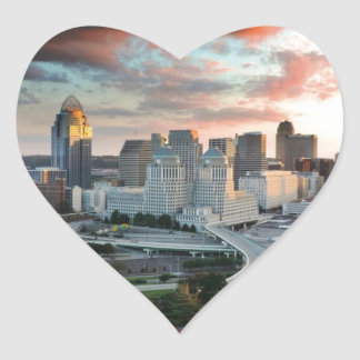 Cincinnati skyline at sunset heart sticker