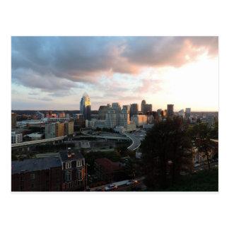 Cincinnati skyline at sunset post cards