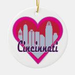 Cincinnati Skyline Heart Ceramic Ornament