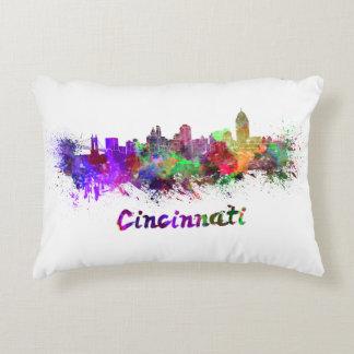 Cincinnati skyline in watercolor accent pillow