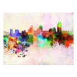 Cincinnati skyline in watercolor background photo print